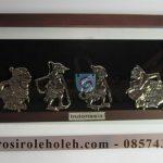 Frame Kaca Punokawan Artistik, Antik, terbuat dari Besi Cor Tembaga dan Kuningan Cocok untuk Kado, Cindera Mata, Koleksi, Penghargaan, Dekorasi Rumah