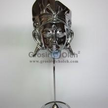 Stand Anak Putra Besar Silver Antik, Artistik, terbuat dari Besi Cor Tembaga dan Kuningan