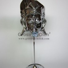 Stand Anak Putra Kecil Silver Antik, Artistik, terbuat dari Besi Cor Tembaga dan Kuningan