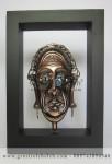 Frame Asmat Mistis, Artistik, terbuat dari Besi Cor Tembaga dan Kuningan Cocok untuk Kado, Cindera Mata, Koleksi, Penghargaan, Dekorasi Rumah