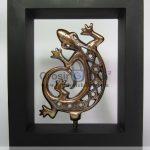 Frame Cicak Unik terbuat dari Besi Cor Tembaga dan Kuningan